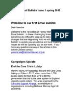 Harrow Mencap Email Bulletin Issue 1 Spring 2012