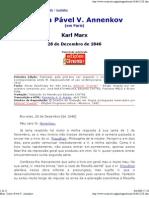 Marx- Carta a Pável V. Annenkov