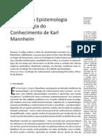 (4) GUSMÃO (2011) A Crítica da Epistemologia na Sociologia do Conhecimento de Karl Mannheim