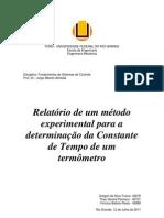 Relatório - Determinação da Constante de Tempo de um Termômetro - Termopar
