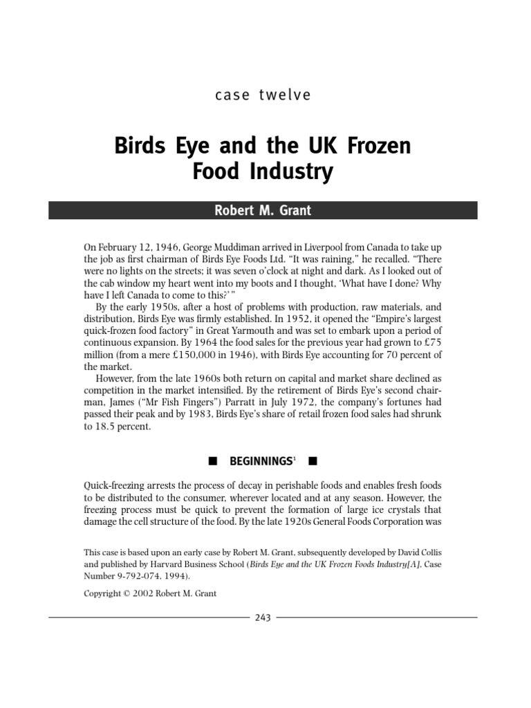 birds eye and the uk frozen food industry