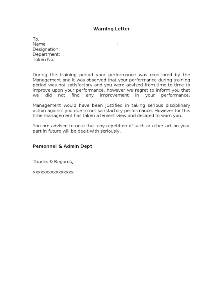 warning letter for absence from work