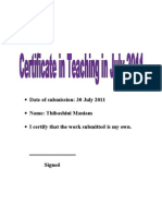 Certificate in Teaching Assignment