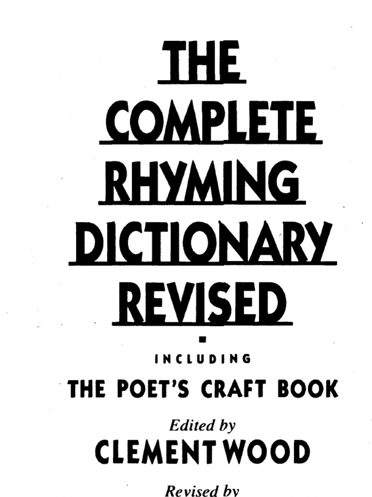 The Complete Rhyming Dictionary Metre Poetry Poetry