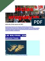 Noticias Uruguayas miércoles 28 de marzo de 2012