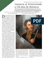 Asunción y renuncia al Protectorado del Perú a 158 años de distancia