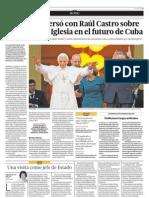 El Papa conversó con Raúl Castro sobre sobre el papel de la Iglesia en el futuro de Cuba