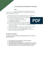 Criterios Para Evaluar Los Prove Ed Ores Tanto de Hardware Y de Software