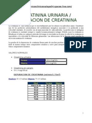 Valores normales depuracion creatinina orina 24 horas