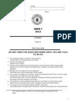 PAPER 1 Ujian 2 Form 1-2012