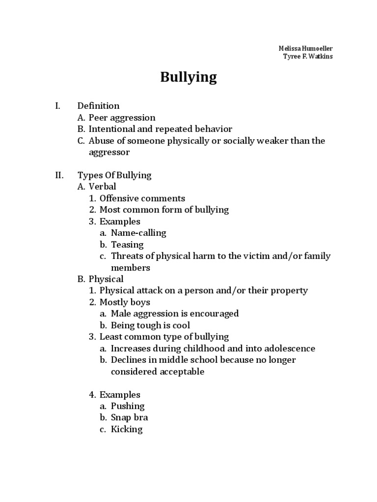 bullying outline bullying cyberbullying