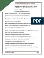 Inflow Matrix Values Glossary