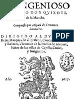El Ingenioso Hidalgo Don Quixote de la Mancha. Edición del Año 1.617