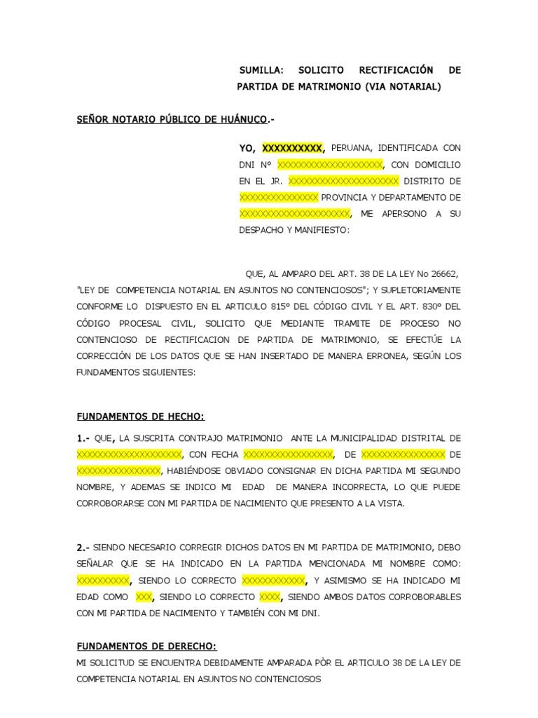 Formato de Solicitud de Rectificacion de Partida de Matromonio (via ...