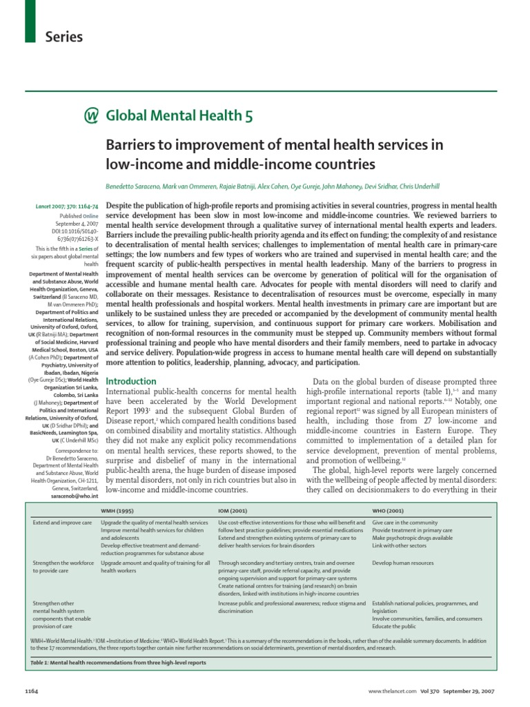 Barriers To Improvement Of Mental Health Services In Low Income And