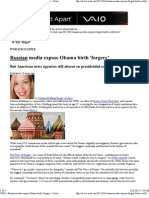 Russian Media Expose Obama Birth Forgery