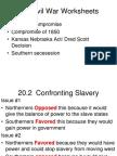 Pre-Civil War Worksheets Ppt