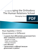 Challenging the Orthodoxy and Human Relations School