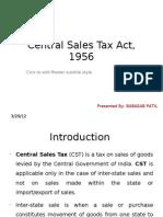 Central Sales Tax 1956 Ppt @ Bec Doms Bagalkot Mba