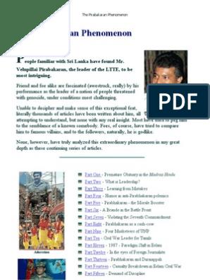 The Pirabakaran Phenomenon | Sri Lanka | Tamils