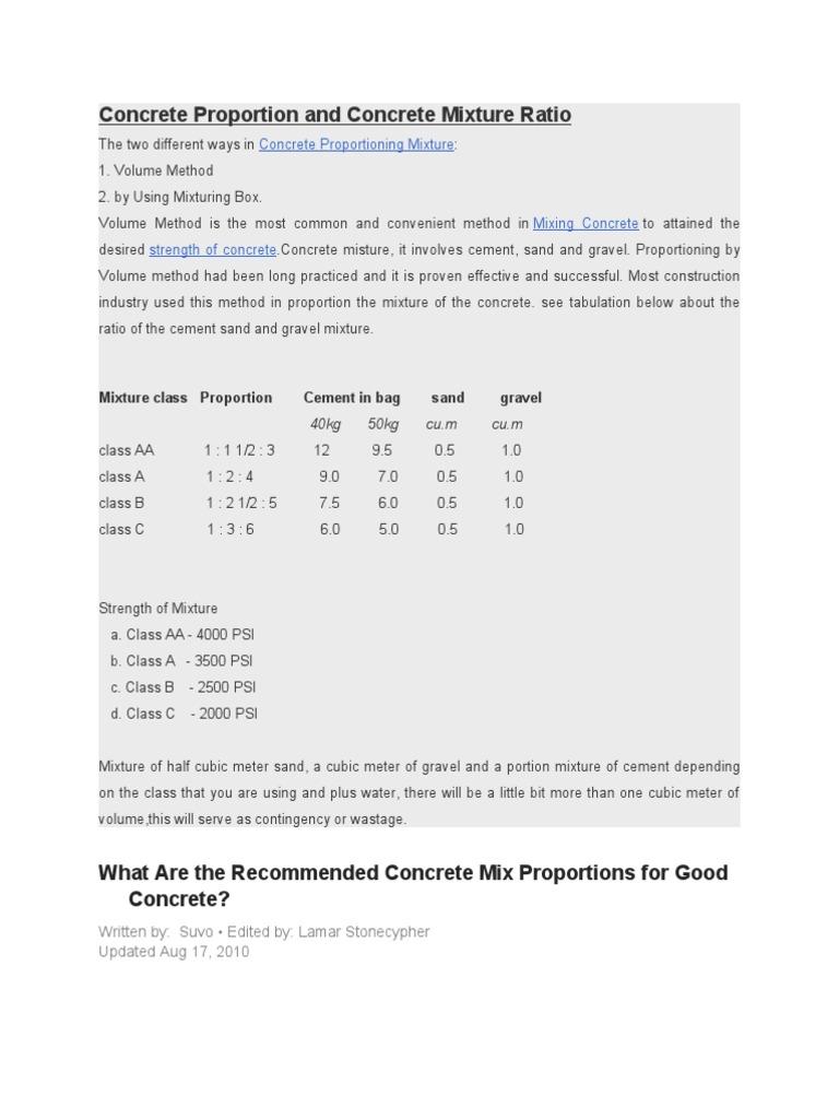 Concrete proportion and concrete mixture ratio concrete concrete proportion and concrete mixture ratio concrete building technology nvjuhfo Images