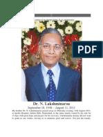 In Ever Loving Memory of My Dearest Brother Dr N Lakshminarsu.