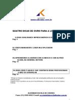 QUATRO DICAS DE OURO PARA A LIDERANÇA - Alkíndar de Oliveira