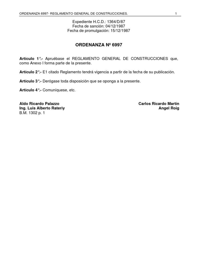 Ordenanza 6997 Reglamento General de Construcciones