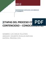 Proceso Cautelar - Proceso de Conocimiento - Etapas Del Proceso Civil
