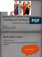 Shaping the Culture of Mathematics Teaching and Learning