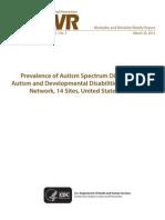 CDC Autism Study, March 2012