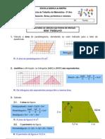lista exercicio matematica 6 série área volume e perimetro