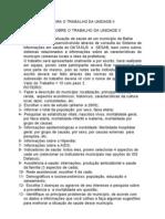 ORIENTAÇÕES PARA O TRABALHO DA UNIDADE II