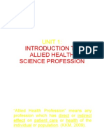 Unit 1 Introduction to Allied Health Profession