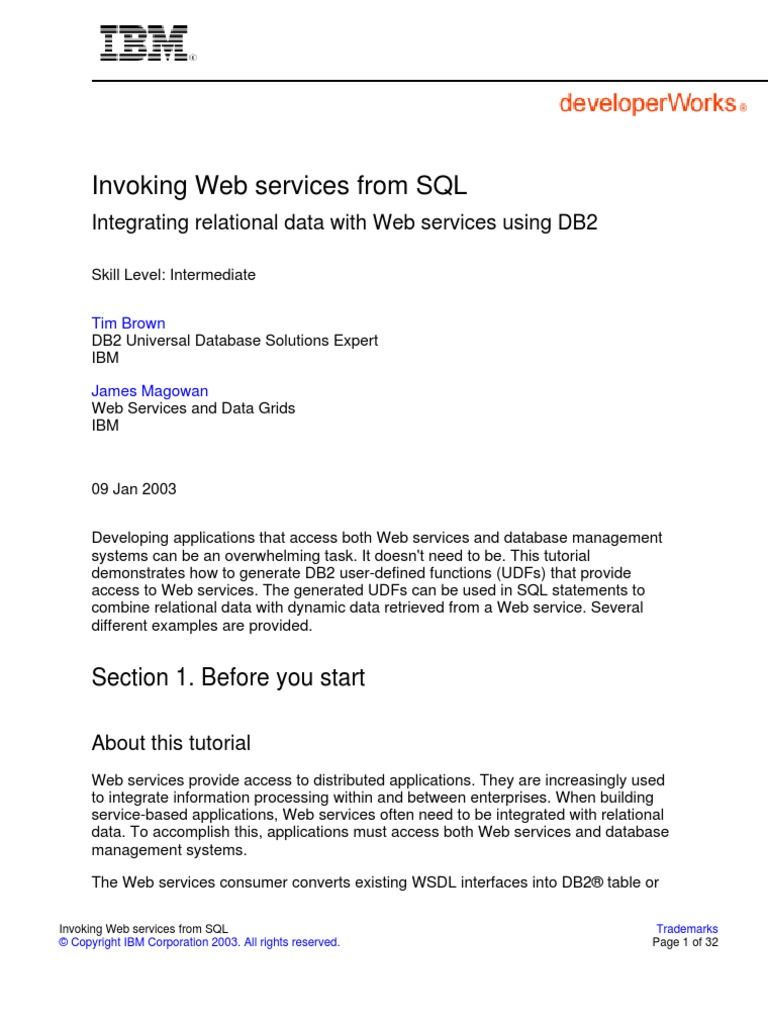 DB2v 8 Web Services Tutorial | Ibm Db2 | Sql