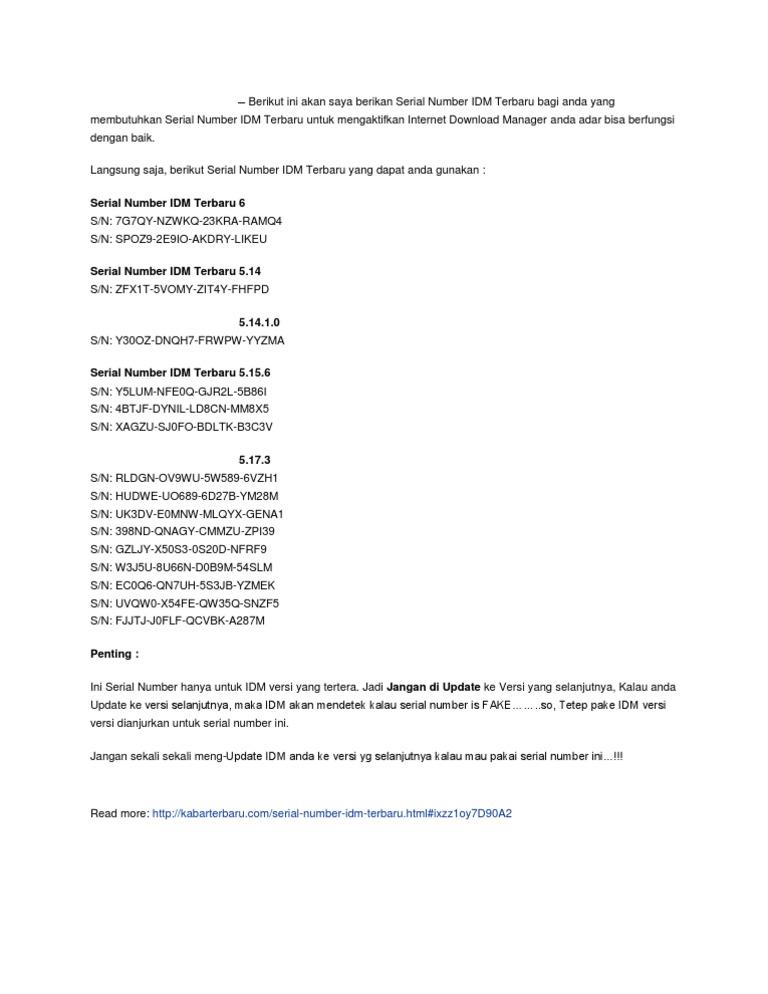 serial number idm terbaru 5.17.3