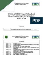 Guia Ambiental Para Las Plantas de Benficio Del Ganado