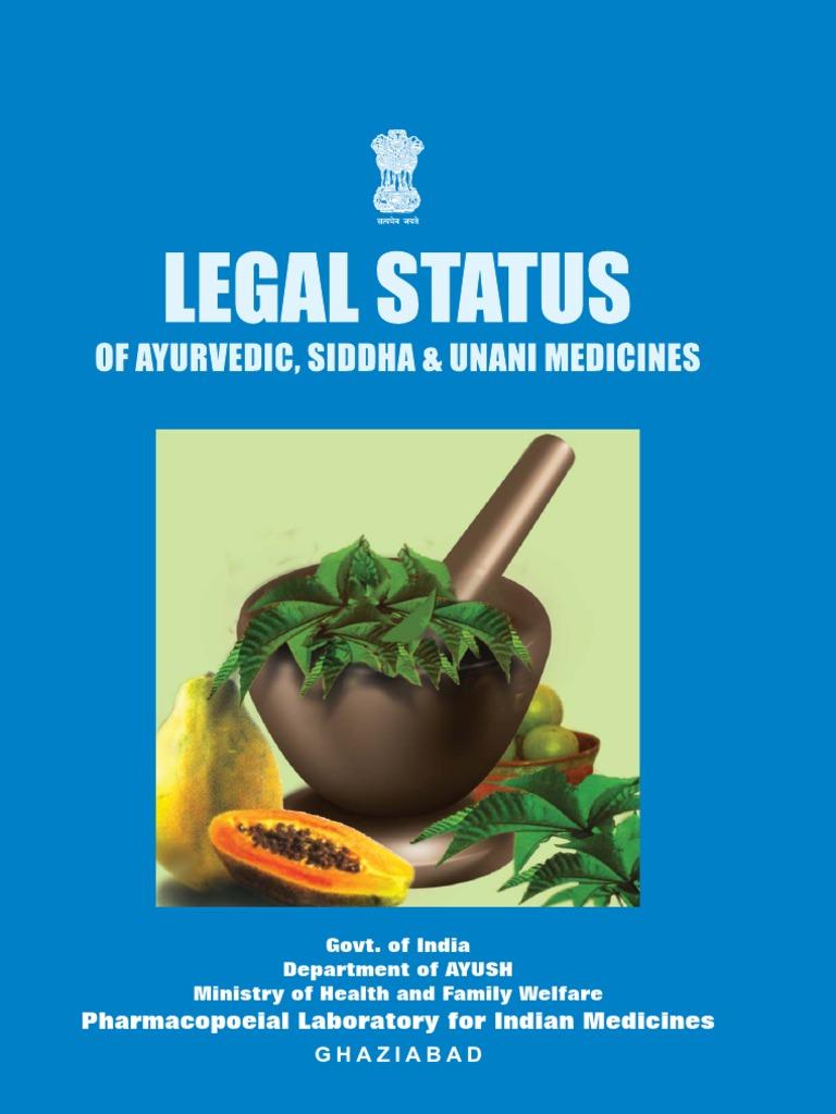 Legal Status of Ayurveda, Siddha, Unani Medicines - Book   Ayurveda