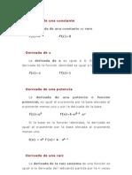 Derivadas Explicacion de Formulas