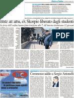 Blitz all'alba, ex Scorpio liberato dagli studenti / Commosso addio a Sergio Antonelli - Il Resto del Carlino del 29 marzo 2012