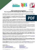 Communique de presse -Garantie de la déontologie pour l'étude EHS 290312 pour site