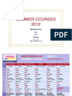 Jazz School UK Summer Course Timetable 2012