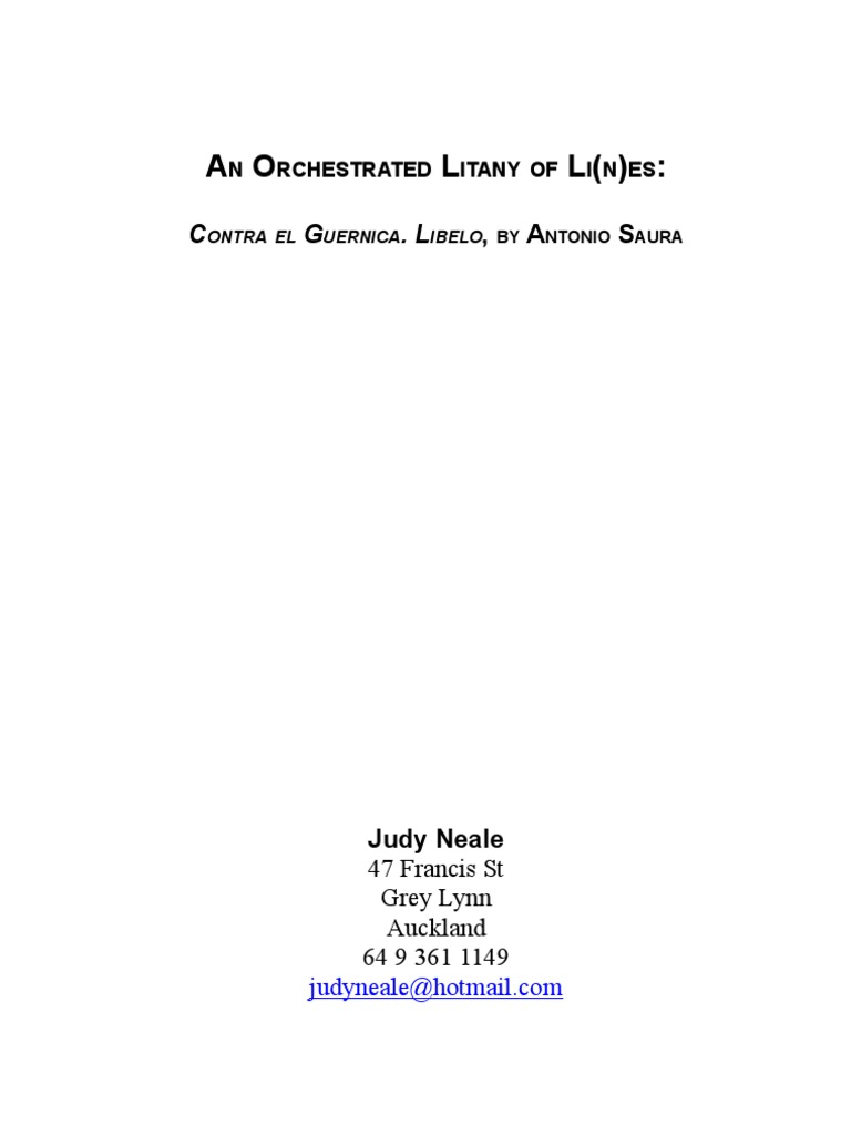 An Orchestrated Litany Of Lines Contra El Guernica Libelo By Antonio Saura