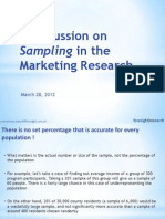A Discussion on Sampling in the Marketing Research