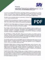 Circular No. NAC-DGECCGC11-00011, Publicada en El R.O. 524 de 31-08-2011