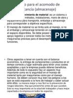 Método para el acomodo de mercancía (almacenaje