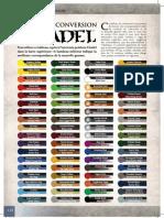 Tableau Conversion Peintures GW