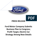 Press Release - Ford Submits Plan to Congress