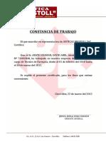 CONSTANCIA DE TRABAJO
