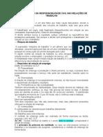 AULA 07 - Efeitos da responsabilidade civil nas relações trabalhistas.